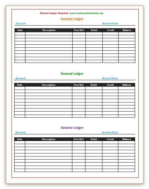 General Ledger Template    wwwsavewordtemplatesorg general - account ledger template