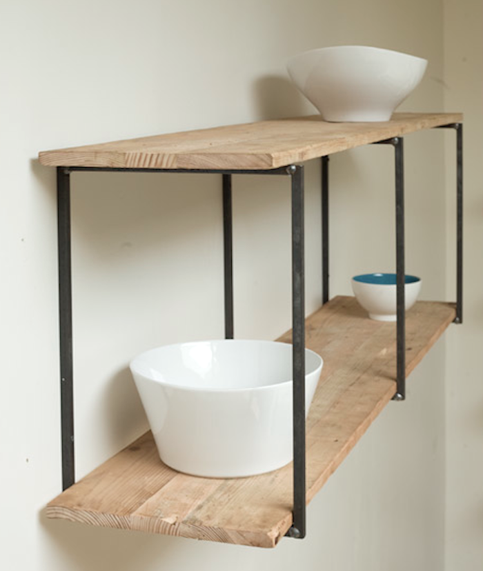 Making New From Old Blake Avenue In LA Industrial The White - Diy build industrial hanging shelf
