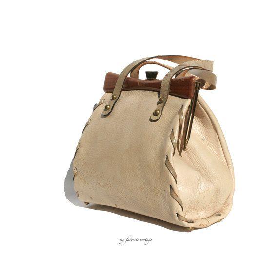 vintage tan leather handbag by myfavoritevintage on Etsy, $42.00