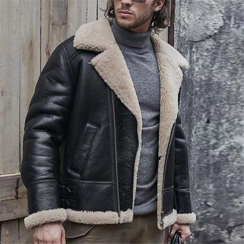 Men's Lapel Solid Color Zip Jacket Leather jacket style