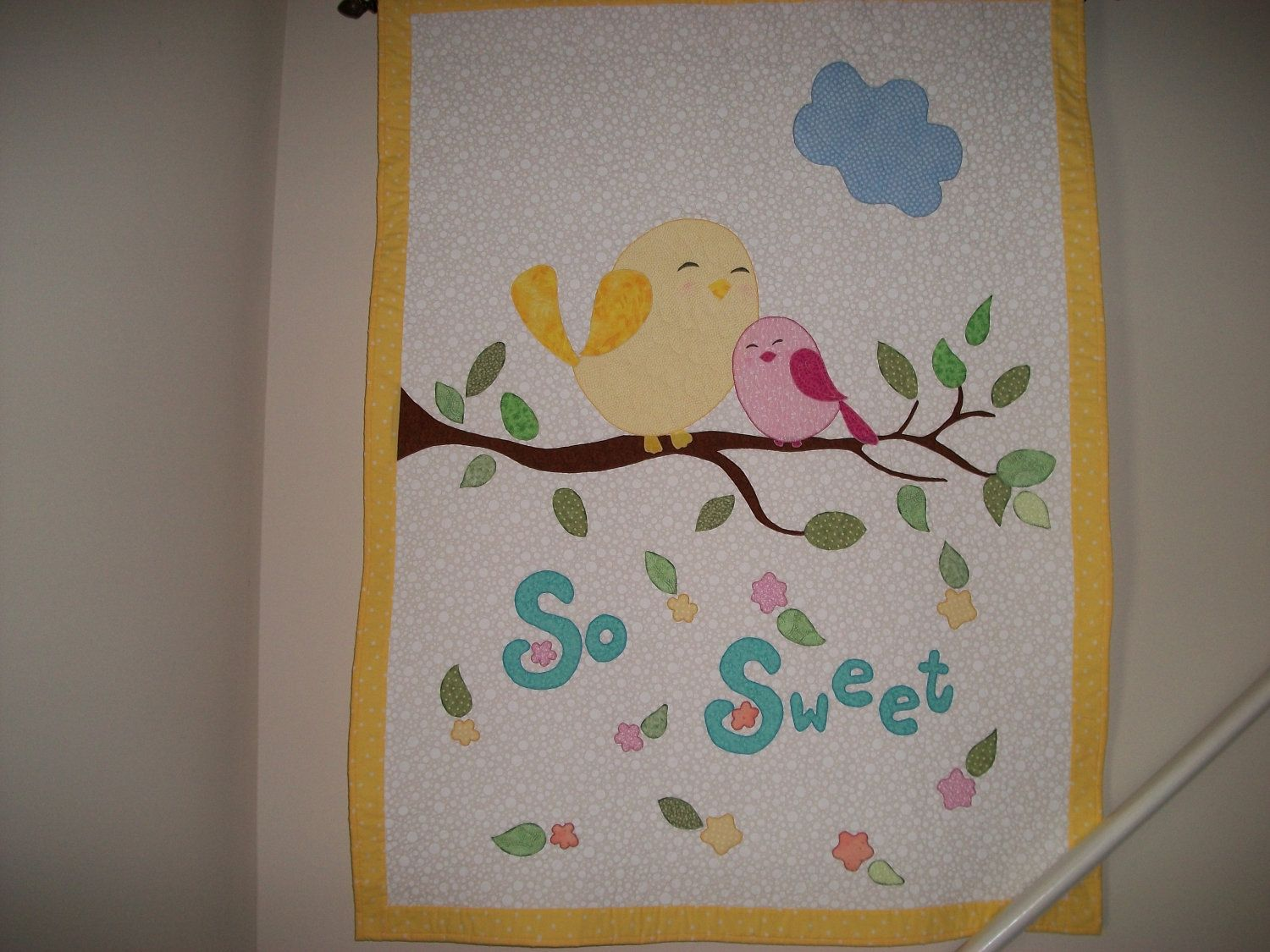 Baby/Toddler Quilt, Baby Shower Gift, Nursery Decor, Handmade, Wallhanging, Applique. $165.00, via Etsy.