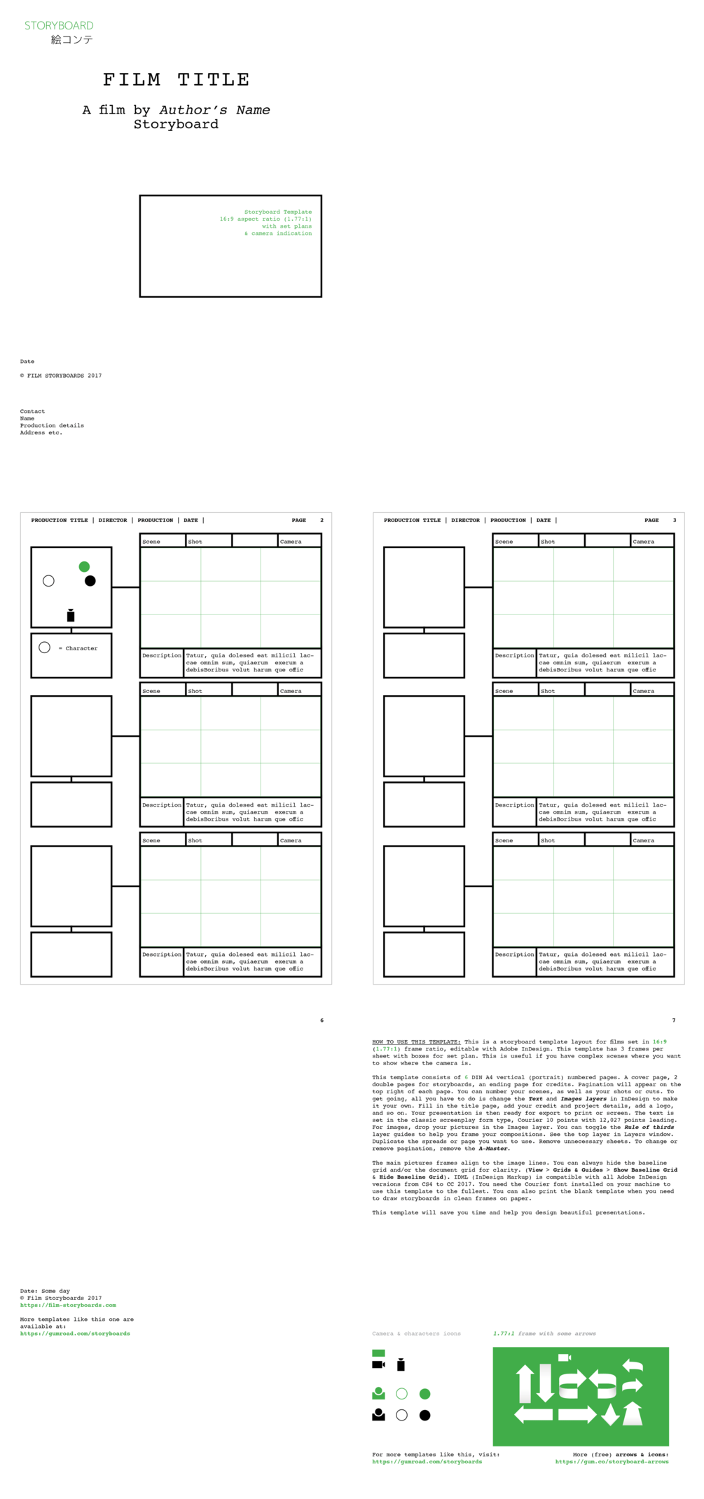 InDesign Storyboard Template 169 With Set Plan Courier 10pt On A4 Portrait This Is A Layout For Films In 1771 Frame Ratio