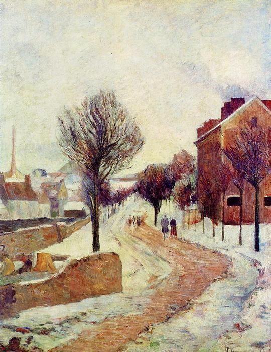 """""""Vorort unter Schnee"""", öl auf leinwand von Paul Gauguin (1848-1903, France)"""