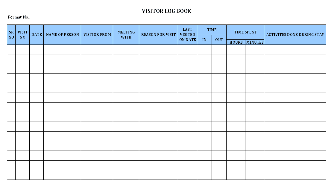 Free Visitor Register Template Google Search Book Format Templates Survey Template