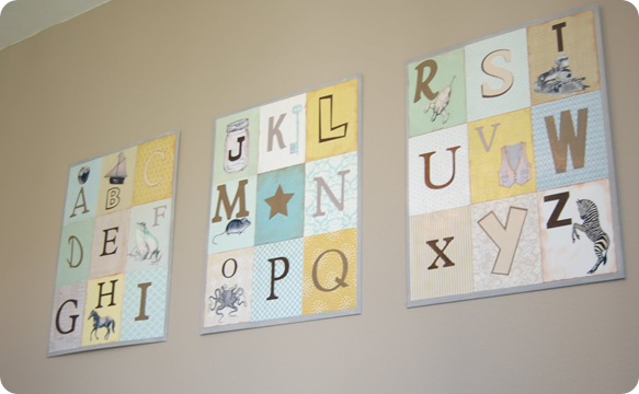Abc wall & DIY alphabet art for the nursery inspired by Restoration Hardware ...