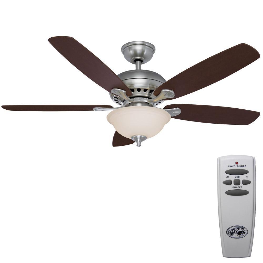 Hampton bay southwind in led indoor brushed nickel ceiling fan