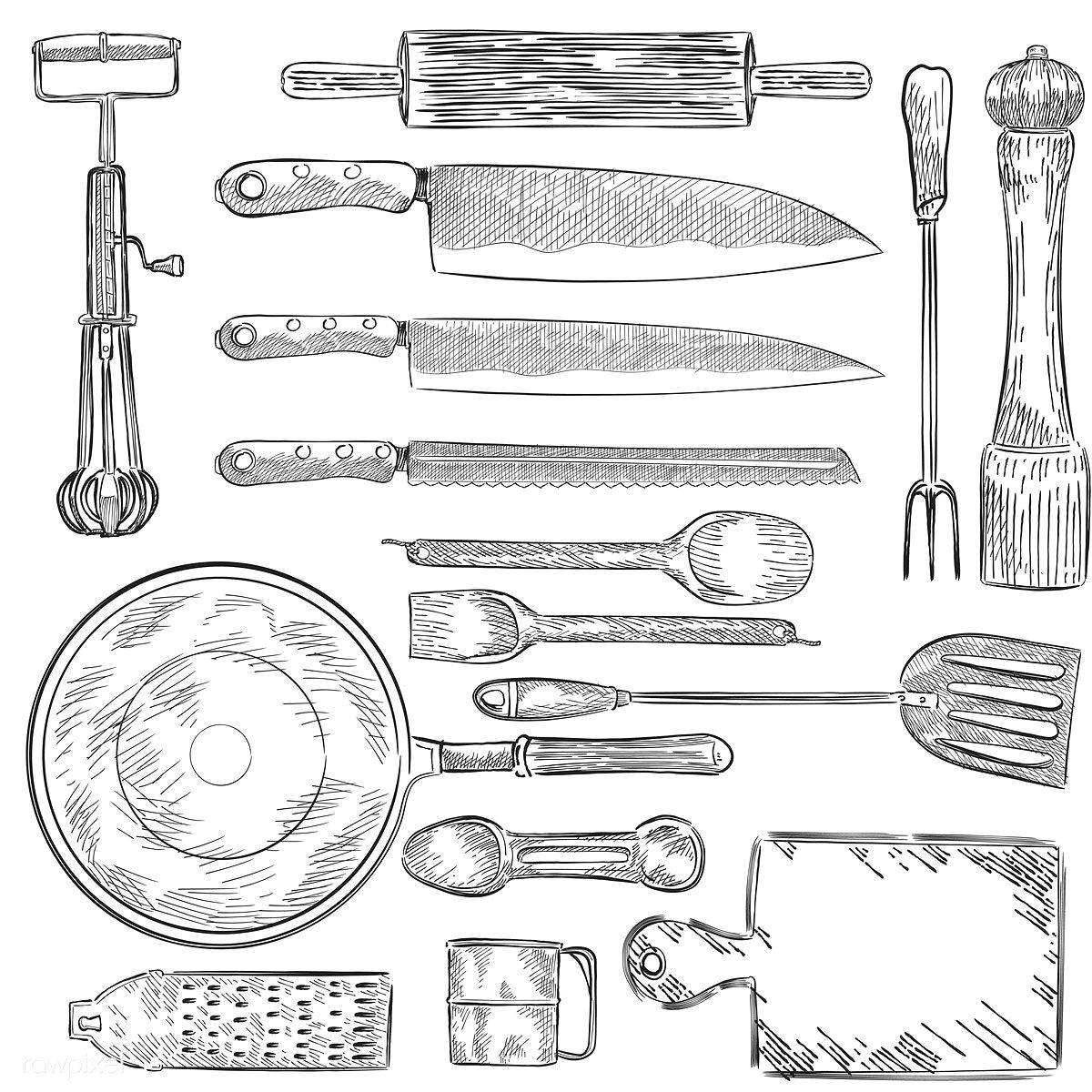 Illustration of a set of kitchen utensils | free image by rawpixel ...