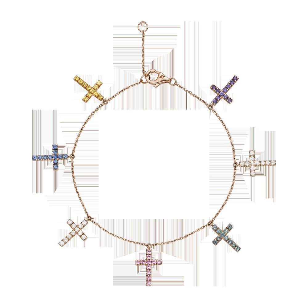 266b05ba7d885 Cross motif bracelet - Pink gold, sapphires - Fine Bracelets for ...