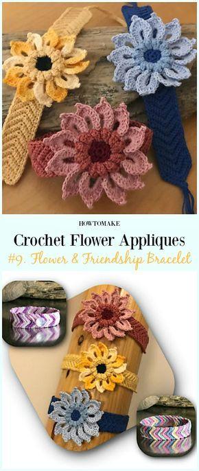 Flower  friendship bracelet free crochet pattern easy appliques patterns also for beginners projects rh pinterest