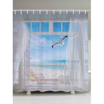 Share Get It Free Beach Balcony Print Bathroom Shower