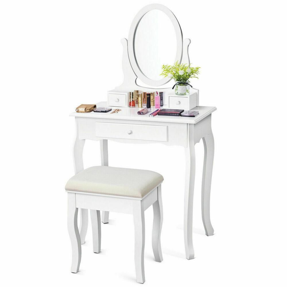 Costway 2 Piece White Jewelry Makeup Desk Vanity Table With Cushioned Stool 3 Drawers Dressing Table Set Hb84003 The Home Depot White Vanity Table White Vanity Vanity Table [ 1000 x 1000 Pixel ]