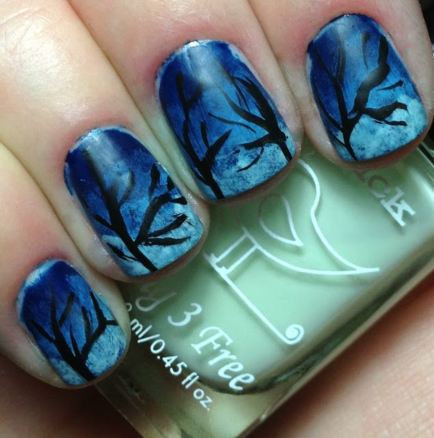 Nails by an OPI Addict: Night Silouette! | Nails | Pinterest | Uña ...