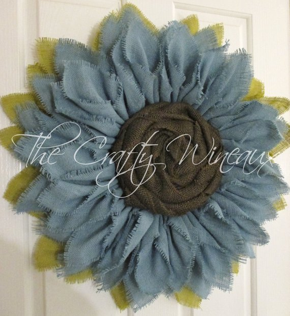 Photo of Extra Thick Light Blue Burlap Sunflower Wreath, Sunflower Door Hanger, Burlap Wreath, Spring Summer Sunflower Wreath Burlap
