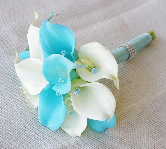Türkis Blumen für Hochzeitssträuße Seidenblume Hochzeitsstrauß ...