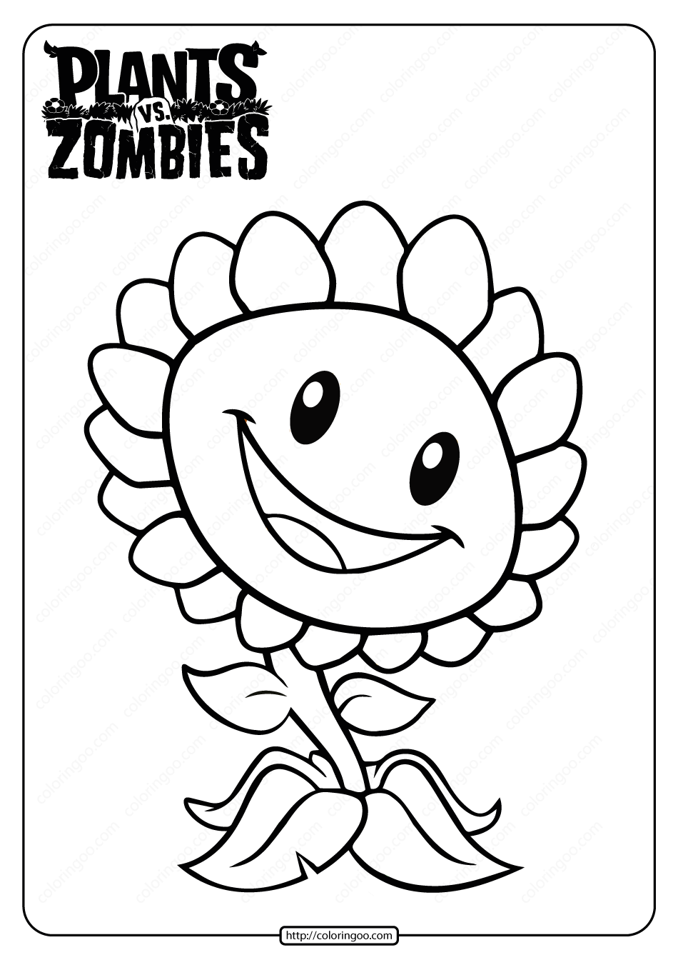 Plants Vs Zombies Sunflower Coloring Page In 2020 Sunflower Coloring Pages Coloring Pages Love Coloring Pages