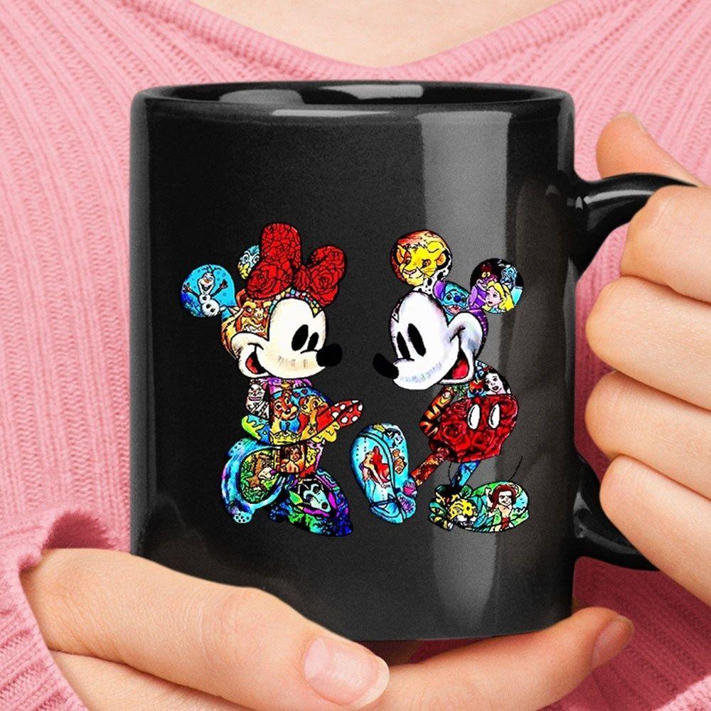 Mickey minnie mouse body painting disney stories black mug