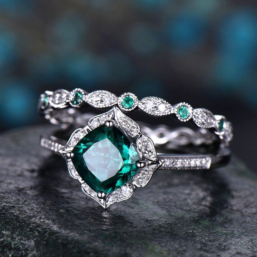 Emerald engagement ring set 14k white gold full eternity