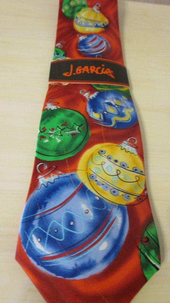 NWT J Jerry Garcia Christmas Tree Ornaments Balls Silk Men Tie ...