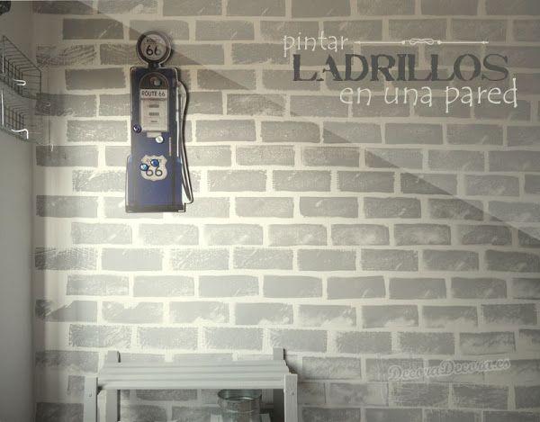 Pintar ladrillos o imitar ladrillos con una esponja y pintura de color para decorar una pared - Pintura color ladrillo ...