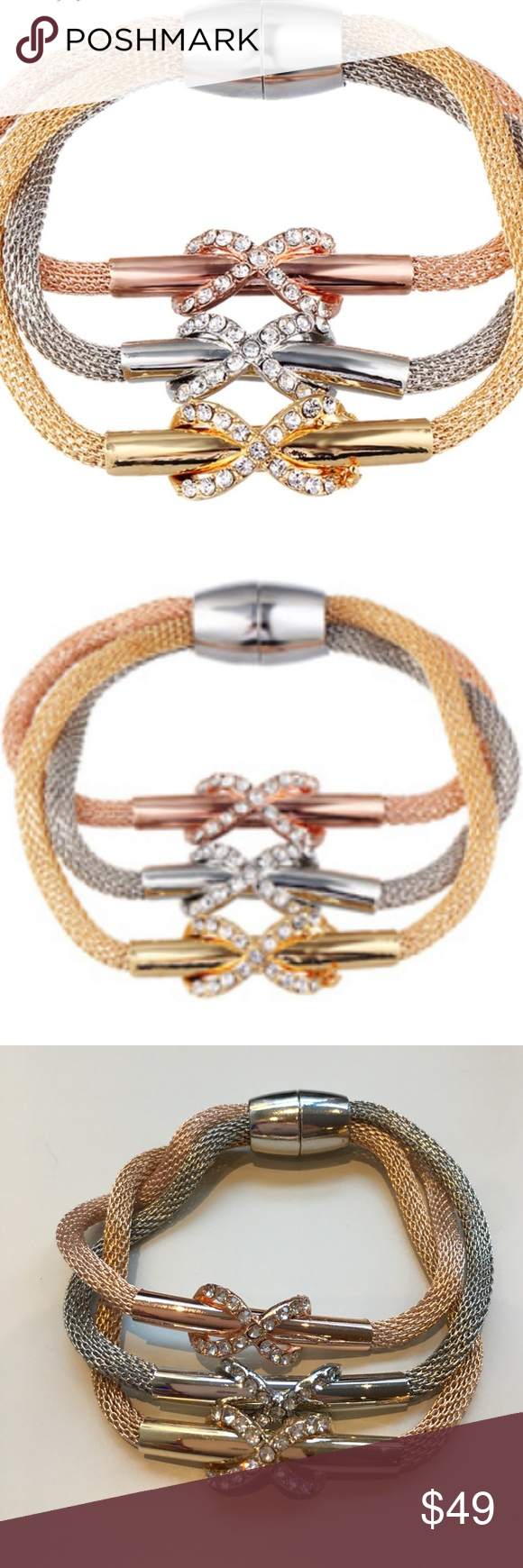 Tricolor crystal infinity pendant bangles pcset infinity