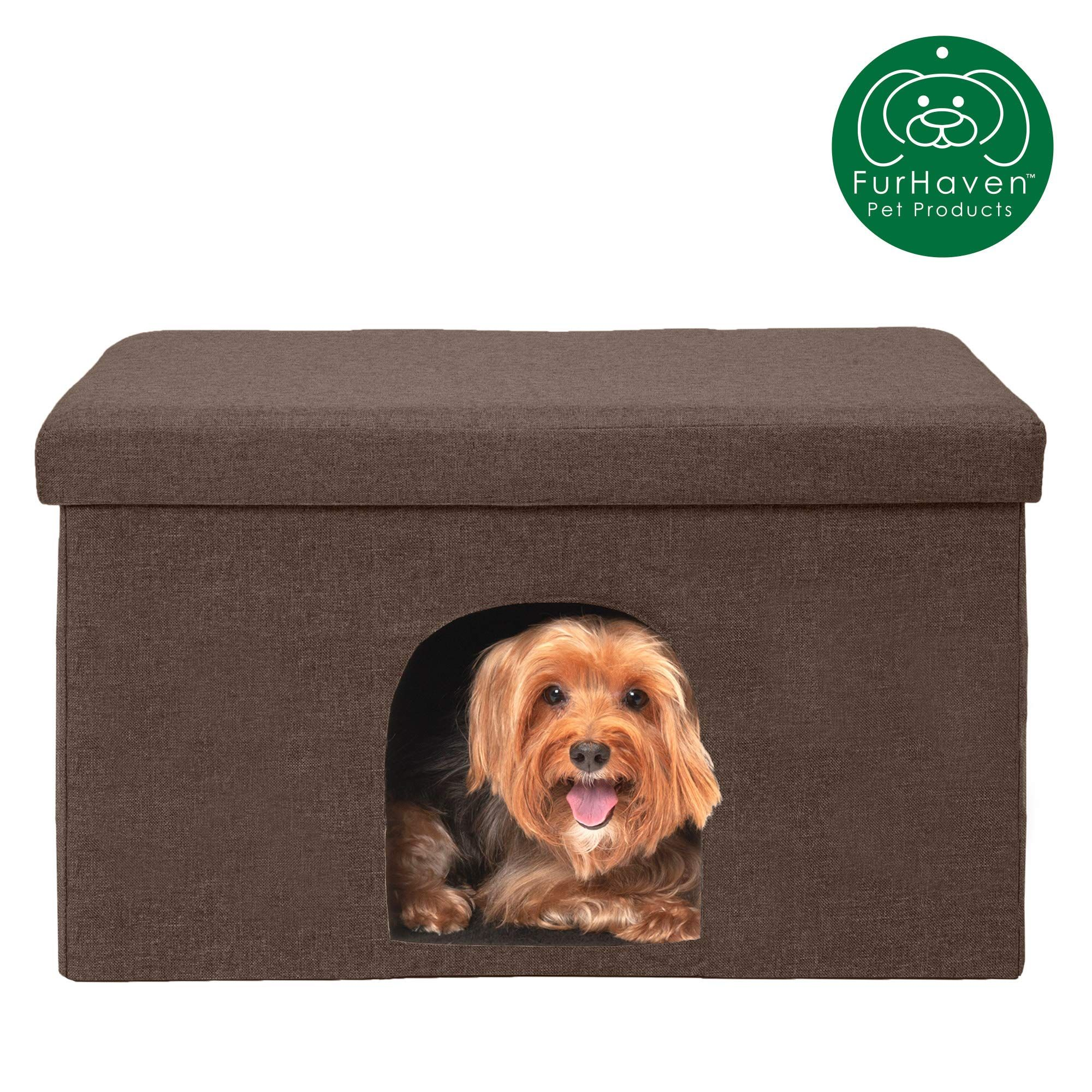 Furhaven Pet Dog Bed Felt Pet House Private Hideout Den And Collapsible Pop Up Living Room Ottoman Footstool Condo For Dog Bed Large Dog Pet Beds Small Dogs