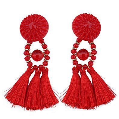 SaiDeng Women Vintage Statement Drop Long Earrings Bohemian Crystal Tassel Earrings Red