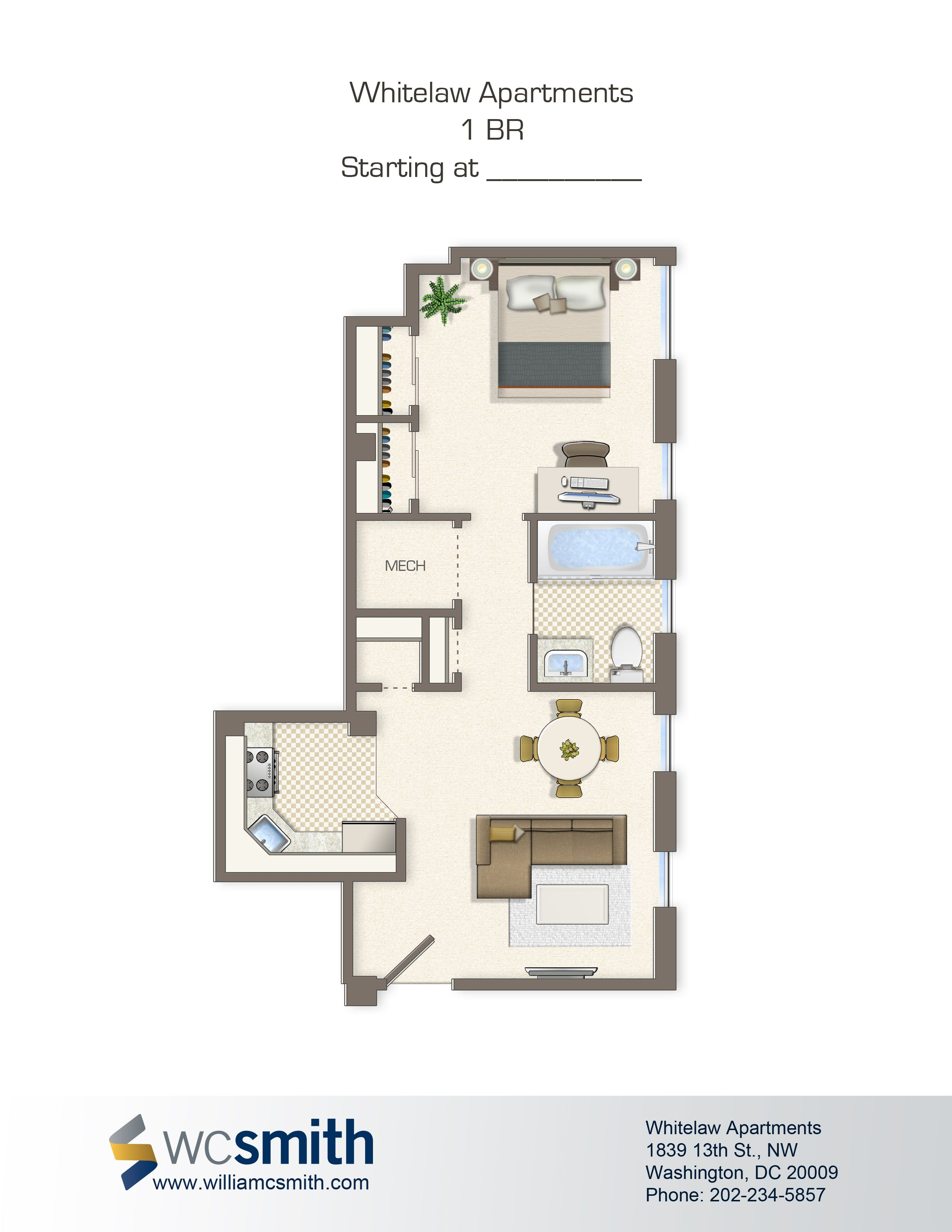 One Bedroom Floor Plan Whitelaw In Northwest Washington Dc Wc Smith Apartments Shaw Rentals