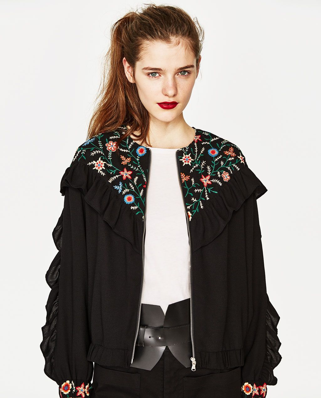 a07a2e6a EMBROIDERED JACKET WITH FRILLS-NEW IN-TRF | ZARA United States ...