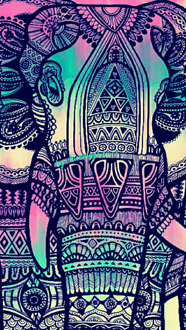 Elephant tribal grunge wallpaper i created for the app - Elephant background iphone ...