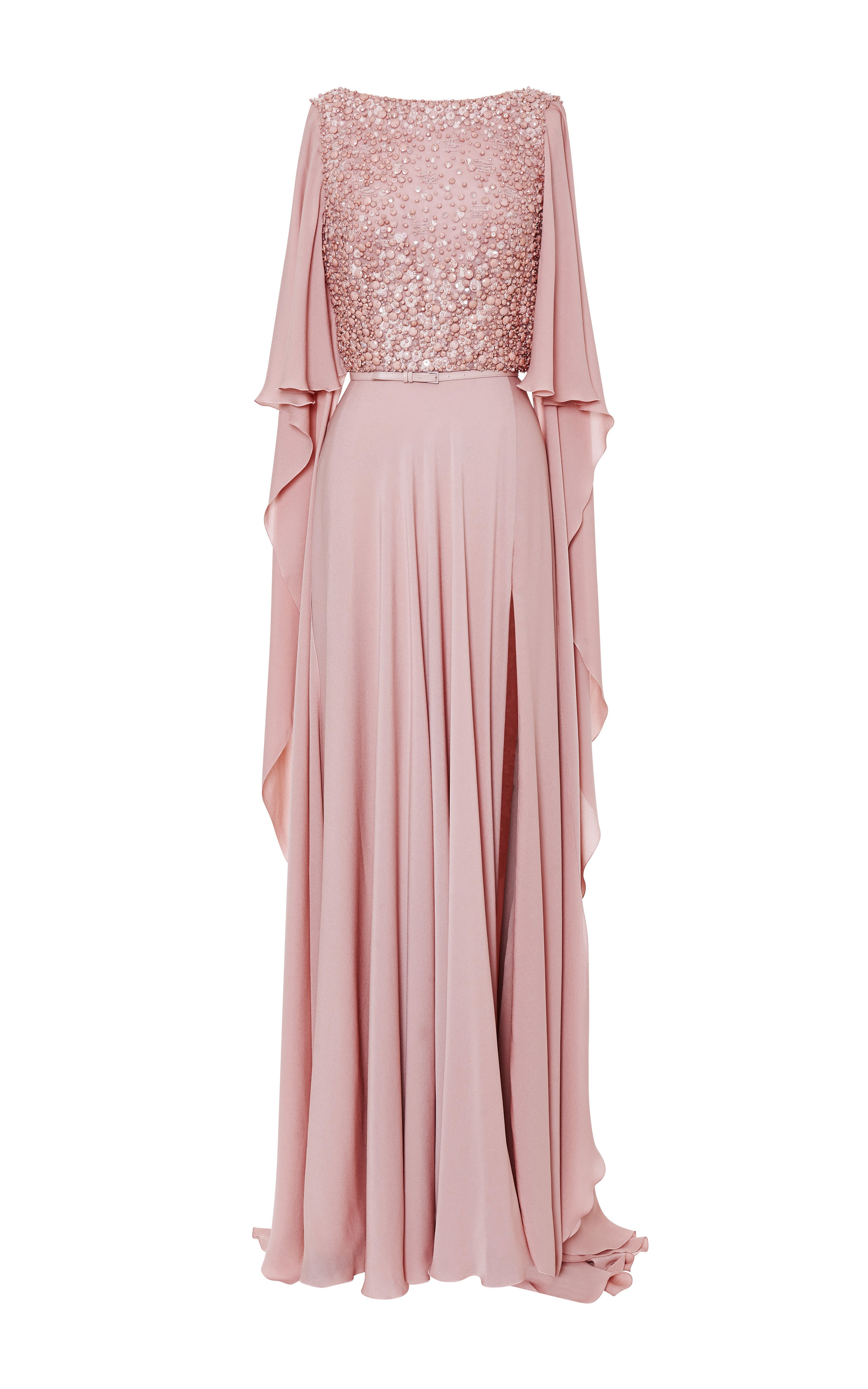 Blush Embroidered Cape Sleeve Gown by Elie Saab | gowns purple pink ...