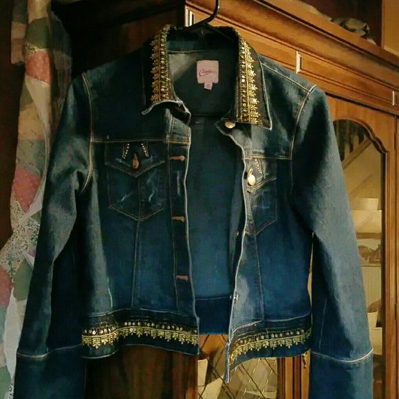 DARK DENIM JACKET Never worn. In perfect condition with gold stitching and sequins. Candie's Jackets & Coats Jean Jackets