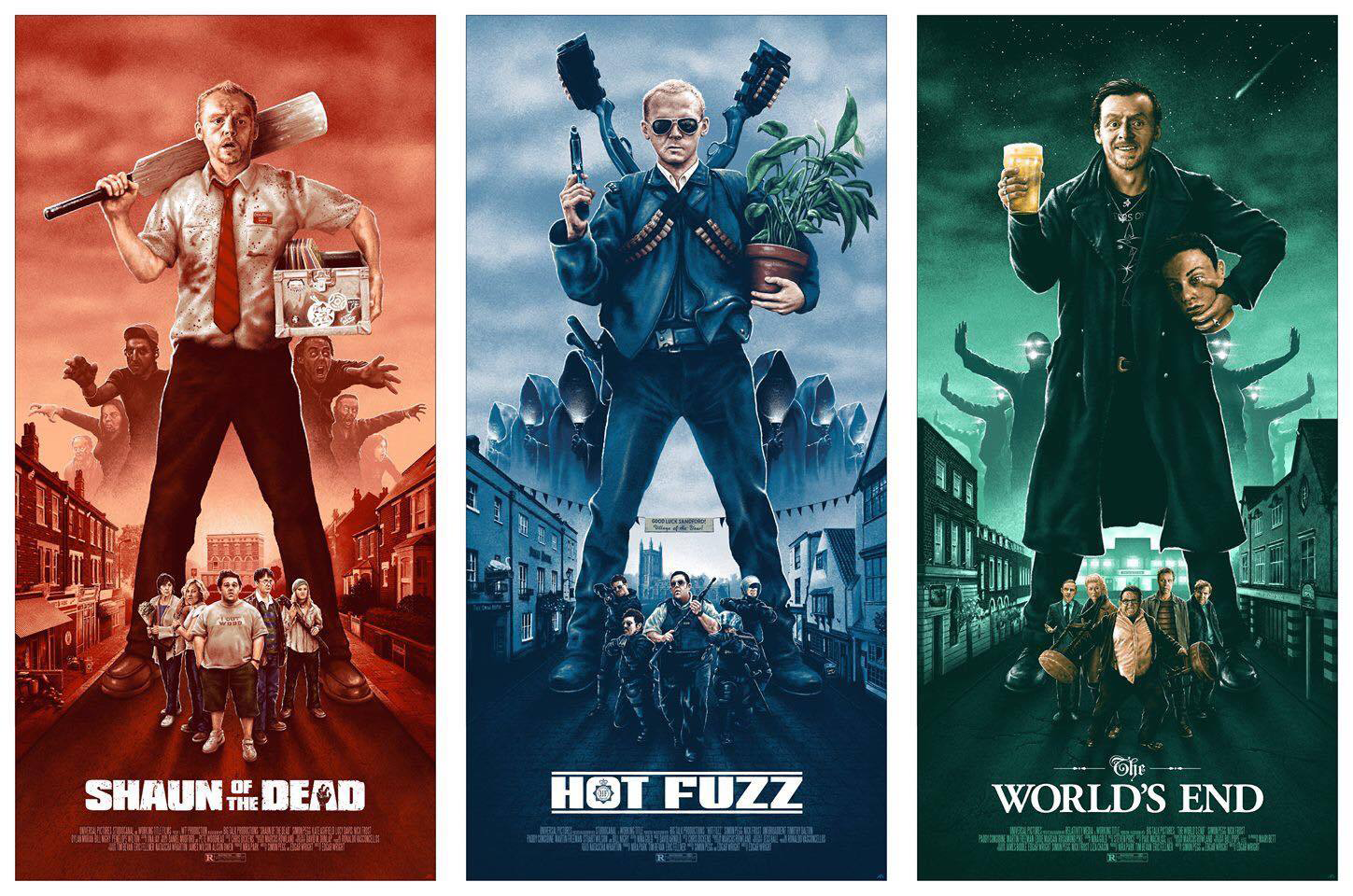 The Three Flavours Cornetto Trilogy Posters By Adam Rabalais Movie Prints Movie Posters Minimalist Best Movie Posters