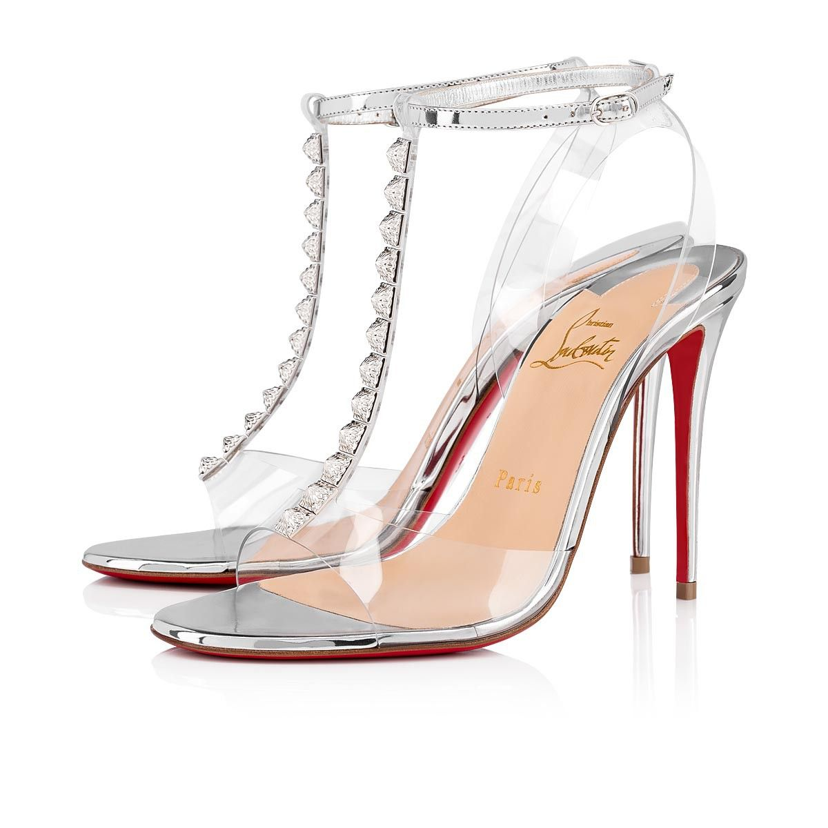 Designed Like A Jewel The Jamais Assez Sandal Is Adorned With Pvc Cutouts Attaching Strips On The Upper That House Silver Spikes Made From Silv With Images Stiletto Heels