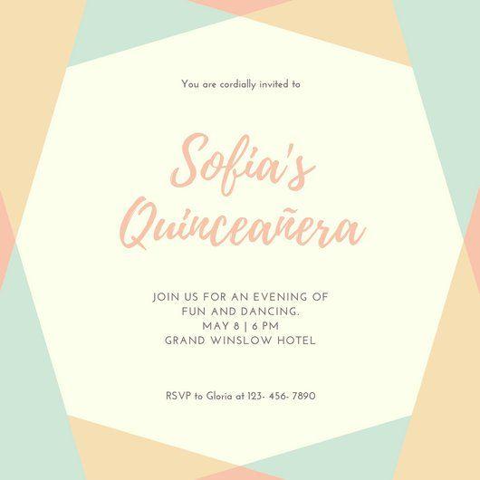 pastel chic elegant geometric border quinceañera invitation