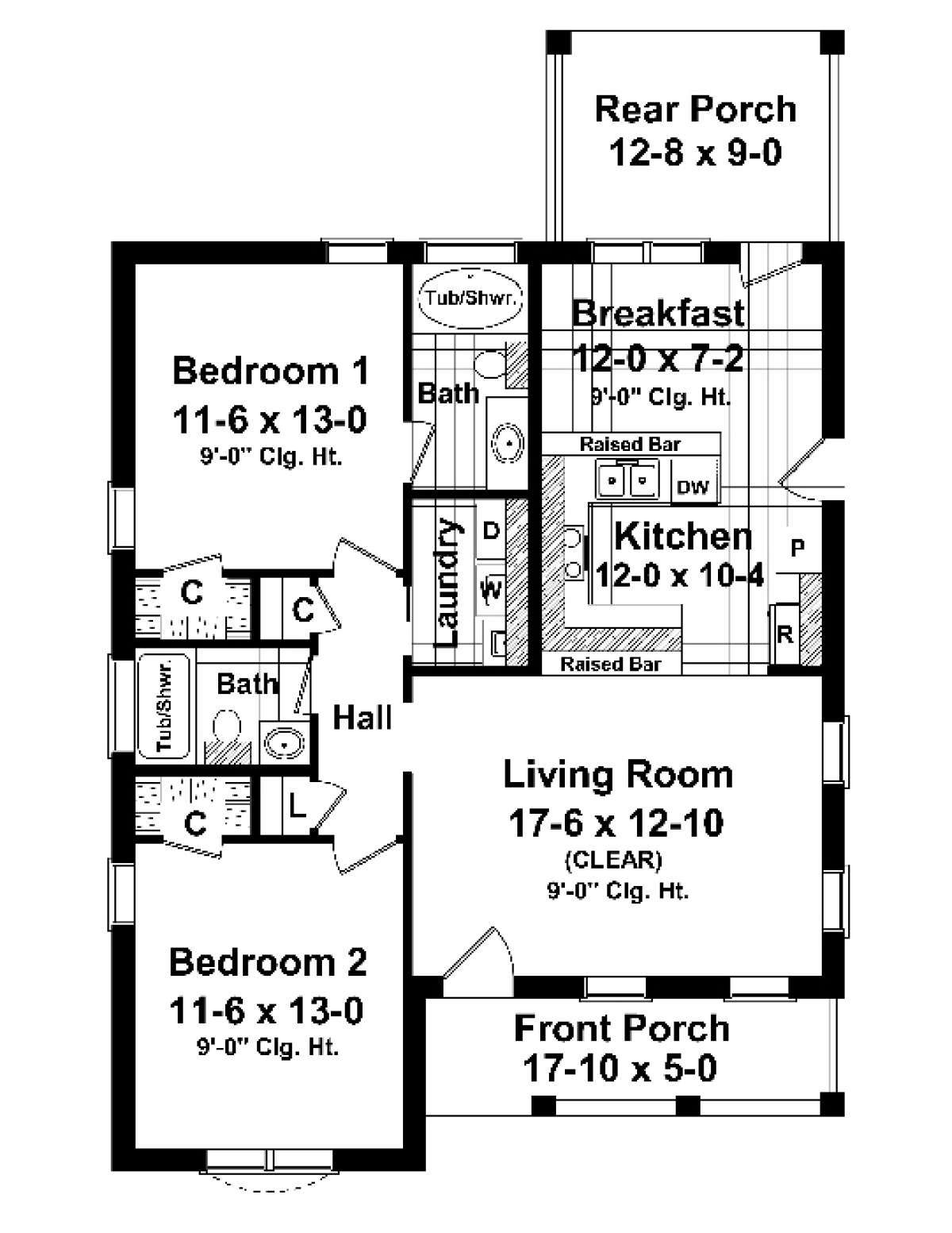 House Plan 348 00005 Traditional Plan 1 100 Square Feet 2 Bedrooms 2 Bathrooms In 2021 Two Bedroom House Cottage Style House Plans Bedroom House Plans