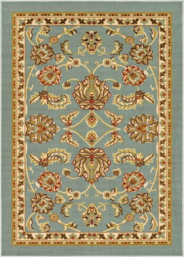 Tabriz Blue Traditional Non Slip Washable Rug Decor Area