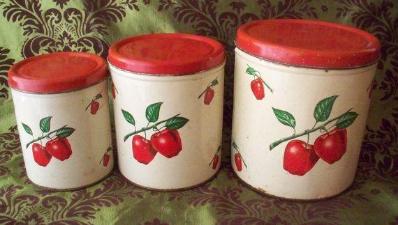 Metal Canister Decoware Apple Canister Set Of 3 Vintage Etsy Vintage Kitchen Accessories Apple Kitchen Decor Vintage Kitchen