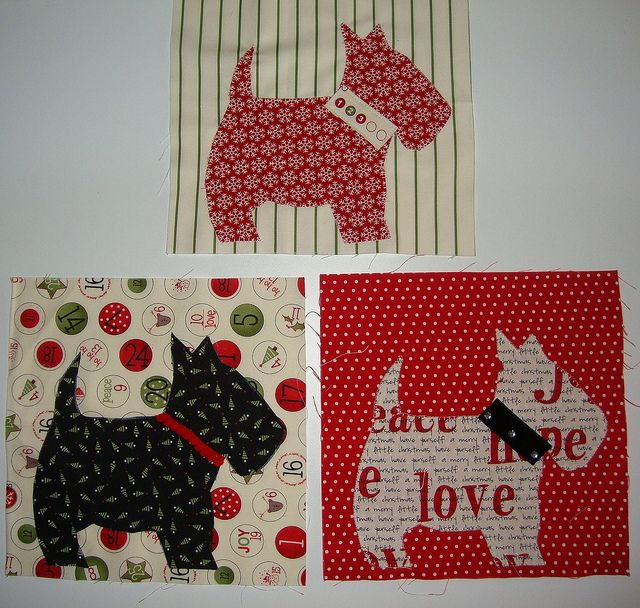 First 3 blocks for the dog quilt by Pink, via Flickr