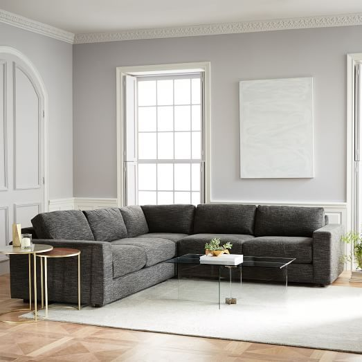 Andes 3 Piece L Shaped Sectional 3 Piece Sectional Living Room Sofa West Elm Sectional