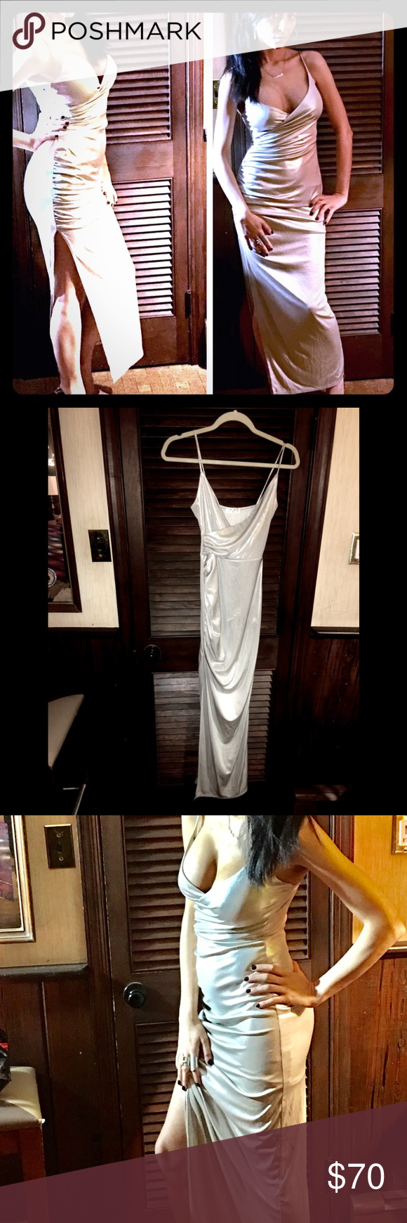 NWOT Blue Blush metallic side slit, ruched maxi NWOT low cut silver metallic gown with spaghetti straps, side slit and ruching on opposite side. Purchased from DollsKill for an event never worn, great piece, new condition. 92% polyester and 8% spandex. Metallic color, very fitted, ruched on one side to accentuate curves and create an hourglass silhouette. Very flattering. Great for cocktail event with a pump or sandal; ankle boots with leather jacket. Lined from top to slit/ slip size…