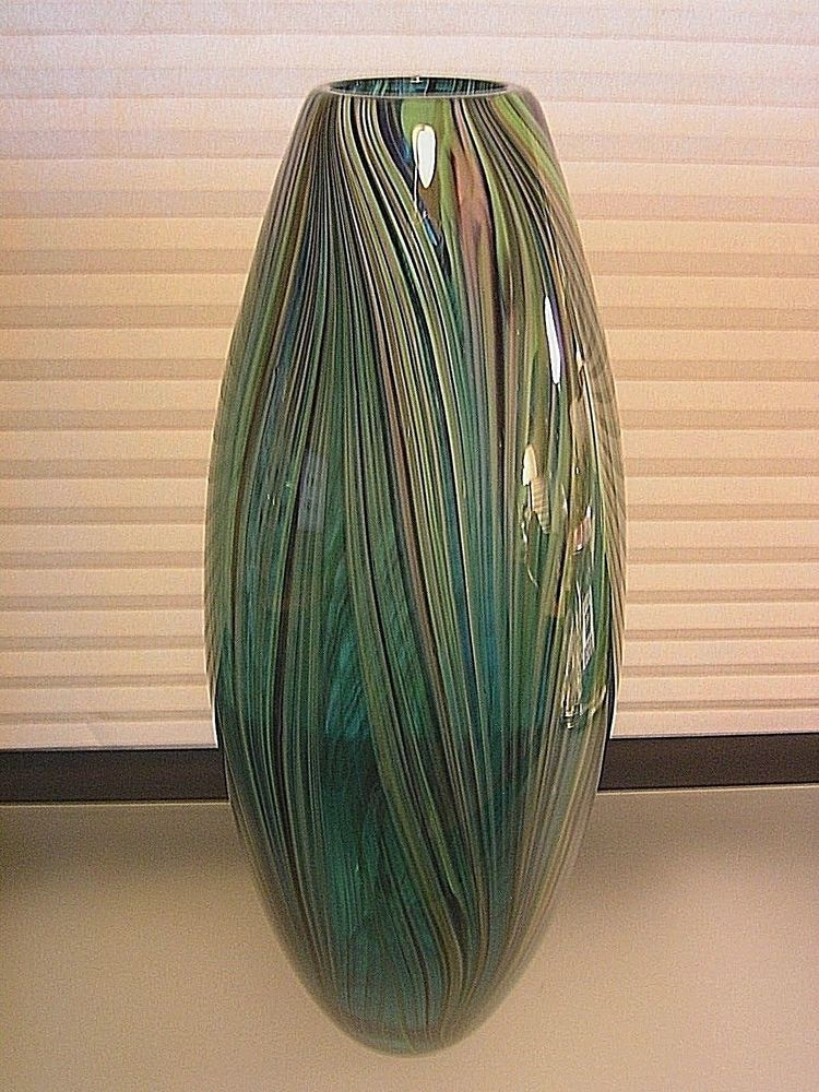 Large Murano Glass Vase Sommerso Cased Feathers 17 Vintage