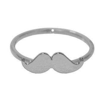 Sterling Silver Mustache Stackable Ring