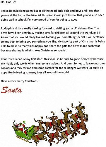 Free Printable Santa Letters At Christmas Letter The Free