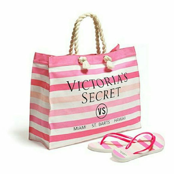 Victoria's Secret Spring Fever Tote & Flip-Flops Flip-Flops: Size Small. Condition: New in package. These are a $85 value! NO TRADES! Victoria's Secret Bags Totes