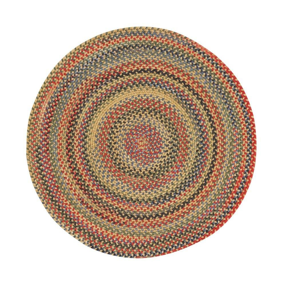 Star Blue Jay 3 Ft Round Area Rug Gold Finch Round Braided Rug