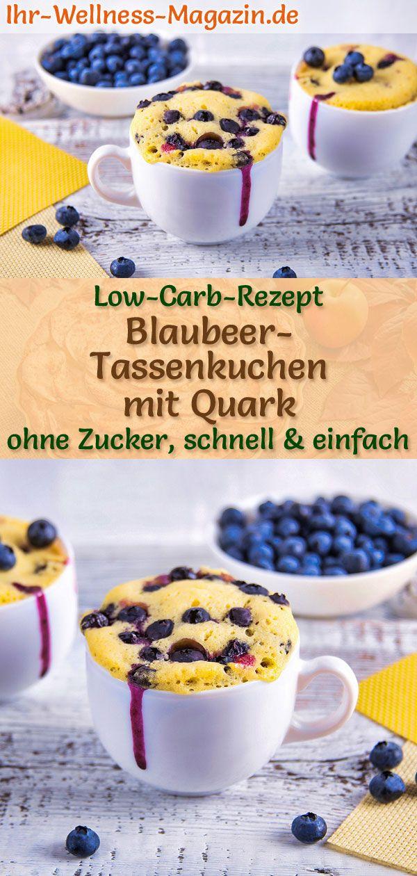 Low Carb Blaubeer-Tassenkuchen mit Quark - Mug-Cake-Rezept ohne Zucker