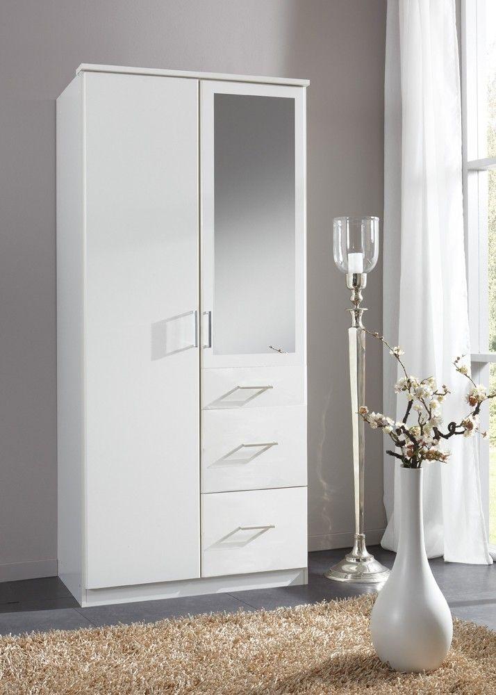 Kleiderschrank Click 90,0 cm Schlafzimmerschrank Alpinweiß 10397 - schlafzimmerschrank weiß hochglanz