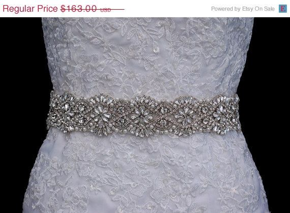 Rose Gold Or Silver Bride Belt Sash Bridal Wedding Accessory