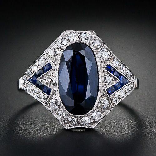 Art Deco anillo de safiro y diamantes