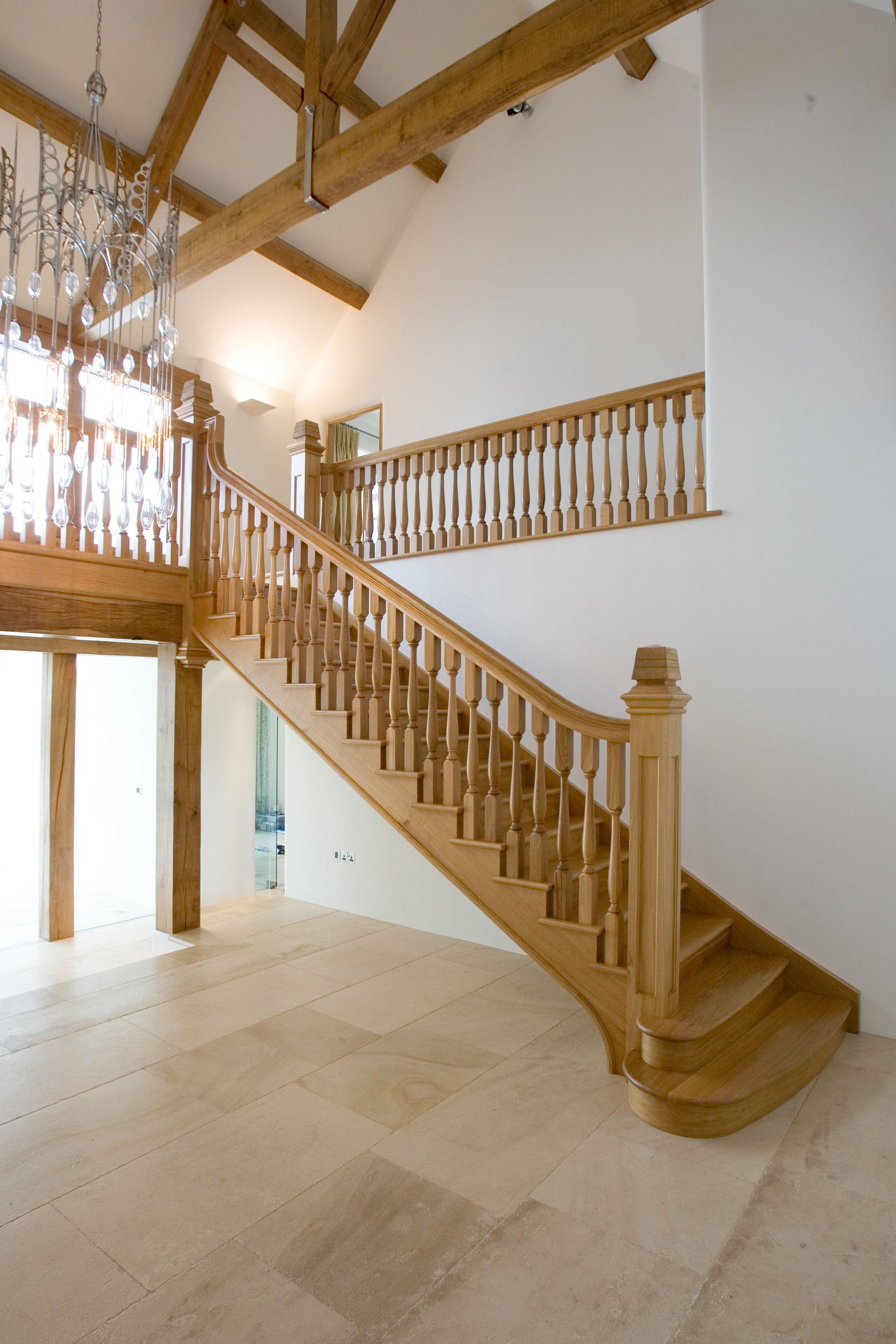 The right hand side of a bespoke timber imperial staircase.